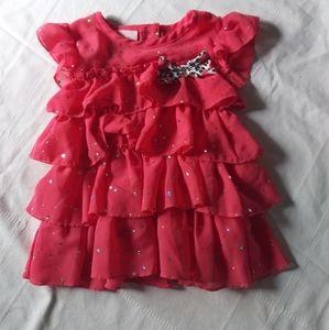Girls Little Lass peach summer sparkle dress 24 2T
